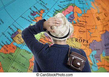 destinazioni, bambino, avventura, macchina fotografica, viaggiare, mappa