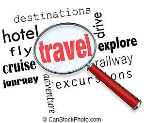 destino, hotel, palavra, viagem, mosca, férias, procurar, ...