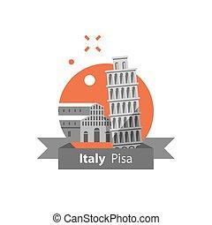 destino, itália, conceito, viagem, pisa, símbolo, marco famoso, torre, italiano, turismo, arquitetura