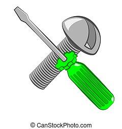 destornillador, y, screw., caricatura, style.