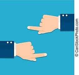destra, indicare, mano, dito, lato, sinistra