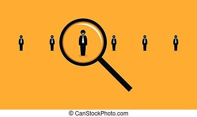 destra, molti, ricerca, vetro, lavoro, seeker., altri, impiegato, usando, ingrandendo