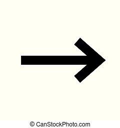 destra, nero, vettore, freccia, icon., simbolo.