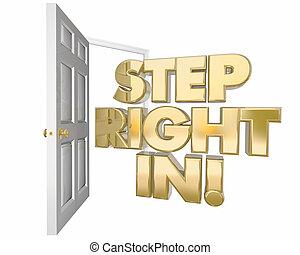 destra, porta, benvenuto, illustrazione, passo, parole, invito, aperto, 3d