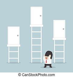 destra, porta, fare, scegliere, uomo affari, decisione