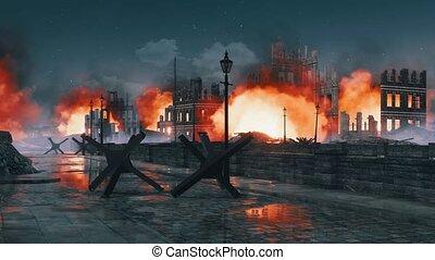 Destroyed after war burning city ruins at night 4K -...