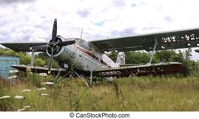 Destroyed and abandoned plane standing in thick grass of ...
