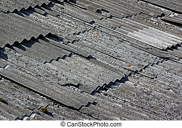 Destroyed asbestos roof