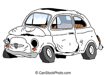Illustration of a destroyed auto with broken glasses and crooked wheels