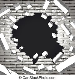 Destroyed brick wall background. Hole in grey brick wall illustration