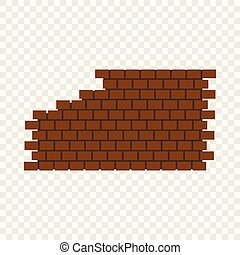 Destroyed brick wall icon, flat style