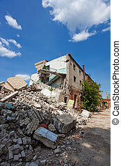 Destroyed building, can be used as demolition, earthquake, bomb, terrorist attack or natural disaster.