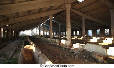 Destroyed building livestock farms