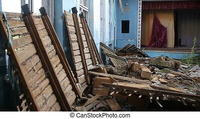 Destroyed building, old school