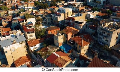 Destroyed buildings background. View from above. Eastern Turkey, Europe.