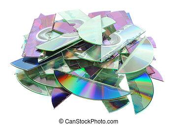 Destroyed CDs - shredded by a shredder. Important for data...
