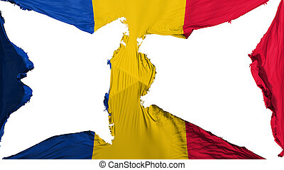 Destroyed Chad flag, white background, 3d rendering