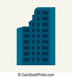 Destroyed city building icon, flat style