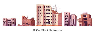 Destroyed city buildings after war or earthquake. Vector cartoon set of abandoned broken houses isolated on white background. Derelict town ruins after explosion or natural disaster