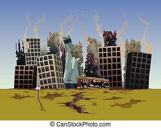 Destroyed city. Street of the city, destroyed by natural disaster. Ruins with destroyed abandoned buildings. Destruction in war zone or post-apocalyptic world cartoon vector concept