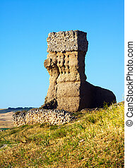 destroyed clay castle of Palenzuela. Castile and Leon, Spain