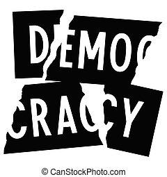 destroyed democracy slogan t-shirt design