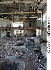 Destroyed factory. Ruins of a house. Abandoned building