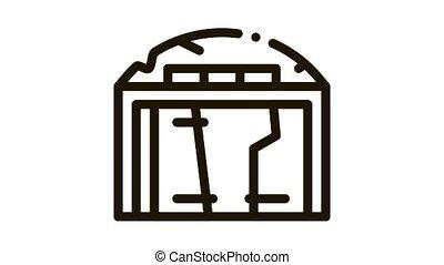 destroyed garage Icon Animation. black destroyed garage animated icon on white background