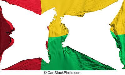 Destroyed Guinea Bissau flag, white background, 3d rendering