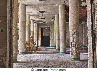 destroyed hall - interior of abandoned building with rubble ...