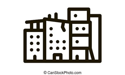 destroyed high-rise buildings Icon Animation. black destroyed high-rise buildings animated icon on white background
