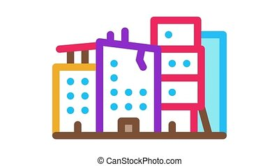 destroyed high-rise buildings Icon Animation. color destroyed high-rise buildings animated icon on white background