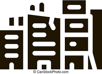 destroyed high-rise buildings glyph icon vector. destroyed high-rise buildings sign. isolated symbol illustration