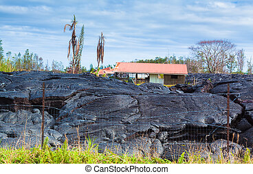 Destroyed home in lava