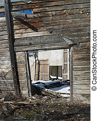 destroyed house in the village