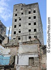 Destroyed houses at the neighborhood of Habana Vieja in Havana