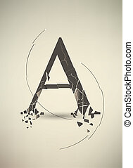 Destroyed Letter A. Retro Poster