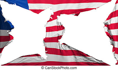 Destroyed Liberia flag, white background, 3d rendering