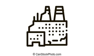 destroyed nuclear power plant Icon Animation. black destroyed nuclear power plant animated icon on white background