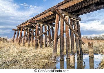 destroyed railroad timber trestle - railroad timber trestle ...
