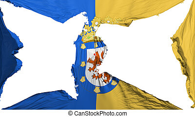 Destroyed Santiago city flag - Destroyed Santiago city,...