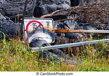 Destroyed sign - Warning sign destroyed by advancing lava in...