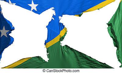 Destroyed Solomon Islands flag, white background, 3d ...