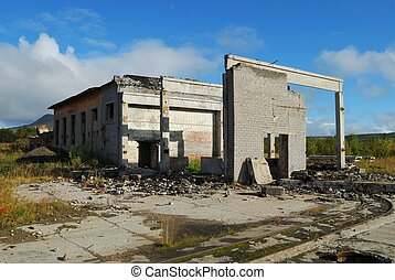 The destroyed building without a roof