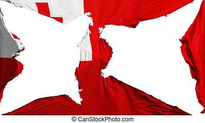 Destroyed Tonga flag, white background, 3d rendering