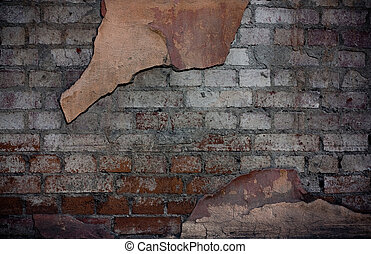 Destroyed Wall - Dilapidated brick wall with remnants of...