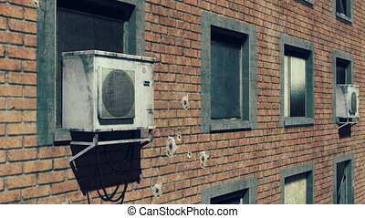 Destroyed wall high-rise building - Destroyed brick wall of...