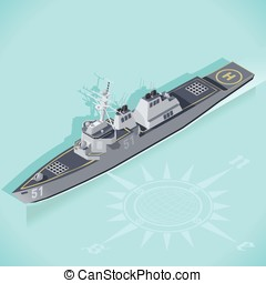 Destroyer 01 Vehicle Isometric - Militar Ship 3d Flat...