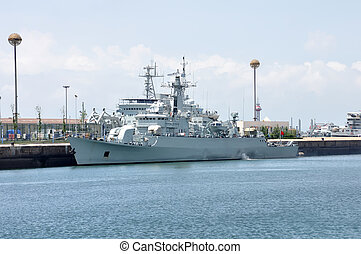 Destroyer docked at the pier