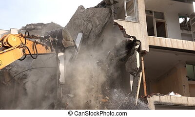 Destroying a House with Bulldozer